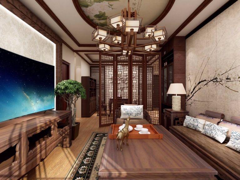 客厅咖啡色茶几新中式风格装饰设计图片