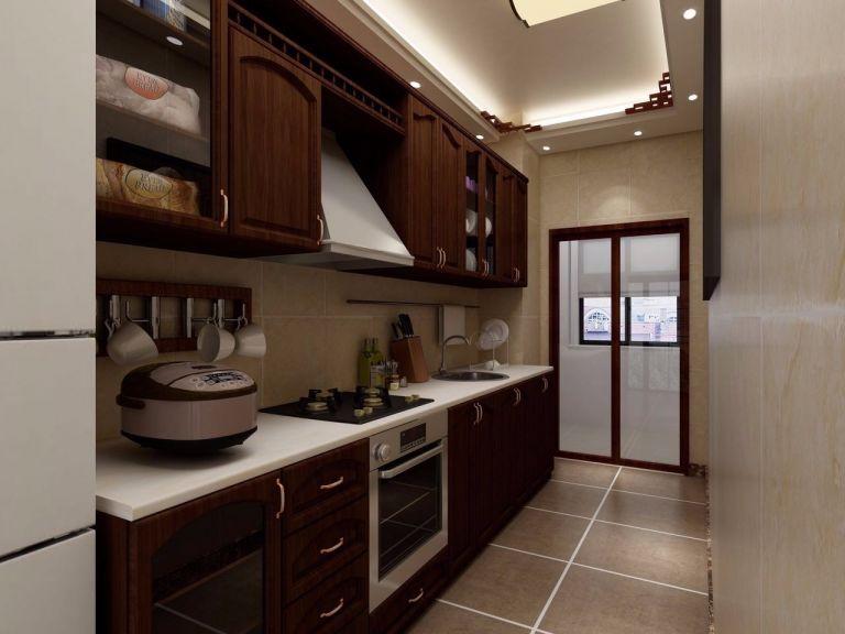 厨房咖啡色橱柜新中式风格装潢设计图片
