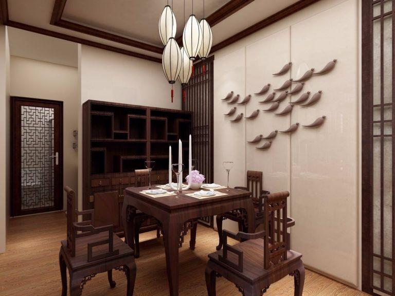 餐厅咖啡色餐桌新中式风格效果图