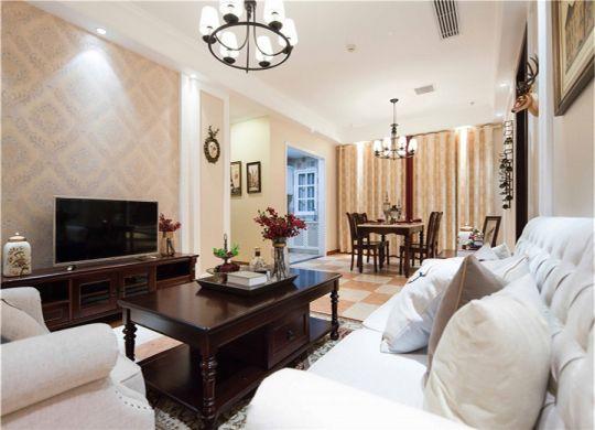 客厅橙色沙发美式风格装修设计图片