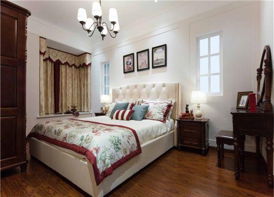 卧室橙色床美式风格装饰设计图片
