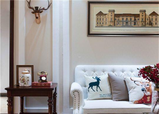 客厅橙色背景墙美式风格装潢设计图片