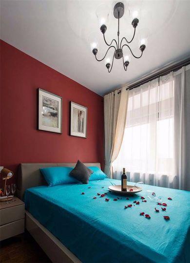 卧室蓝色床混搭风格装修设计图片