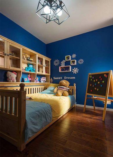 儿童房蓝色床混搭风格装饰设计图片