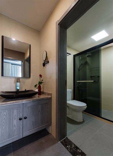 卫生间咖啡色洗漱台混搭风格装潢设计图片