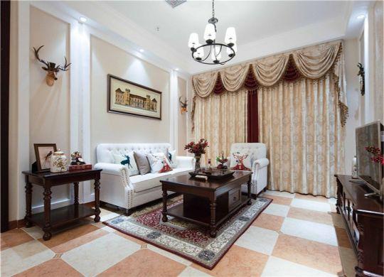 客厅橙色窗帘美式风格装修效果图