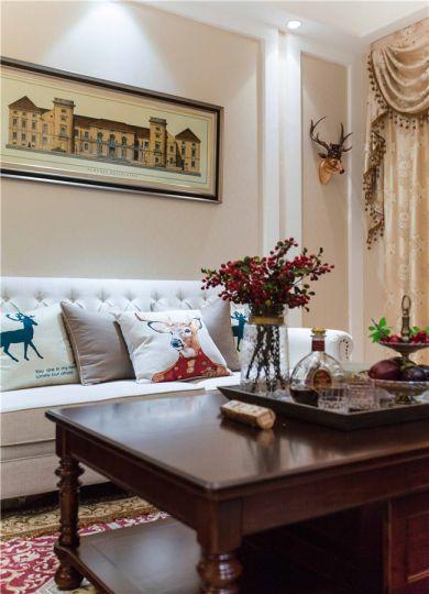 客厅橙色茶几美式风格装饰效果图