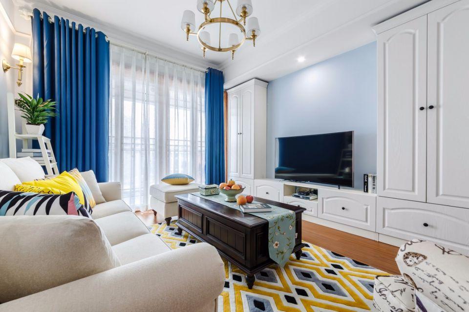 客厅蓝色背景墙美式风格效果图