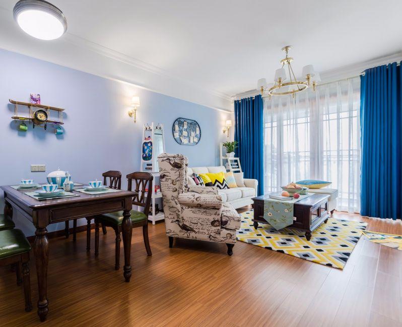 客厅蓝色走廊美式风格装修效果图