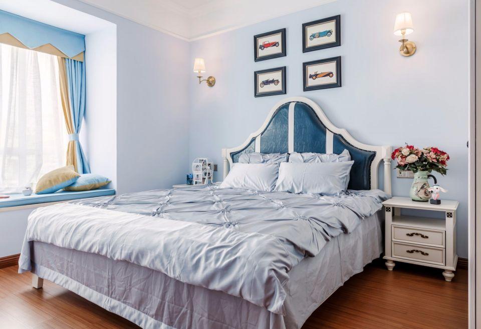 卧室蓝色照片墙美式风格装潢图片