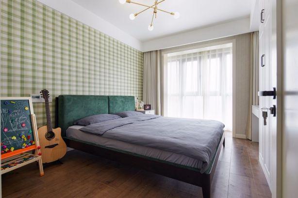 卧室绿色背景墙现代简约风格装修效果图