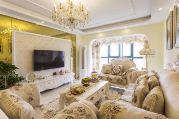 客厅米色背景墙欧式风格装饰效果图
