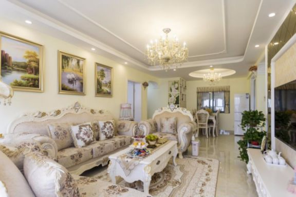 客厅白色照片墙欧式风格装潢效果图