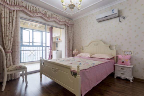 卧室粉色背景墙欧式风格装潢图片