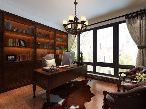 书房白色背景墙美式风格装修效果图