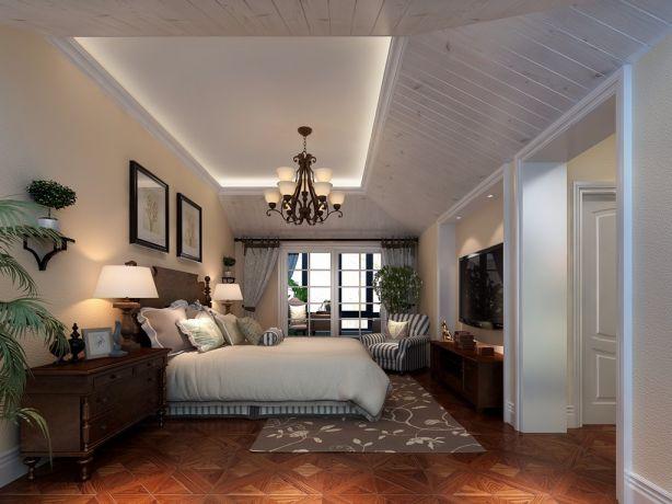 卧室白色吊顶美式风格装潢效果图