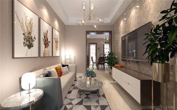 供电东村65平两居室新中式风格装修效果图