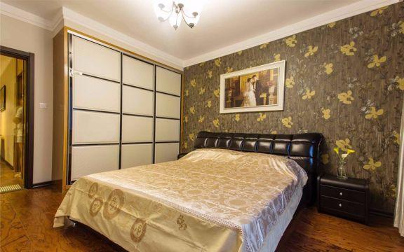 美式卧室床装潢设计图片