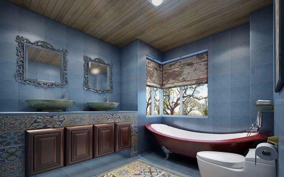 朴素温馨蓝色洗漱台案例图片