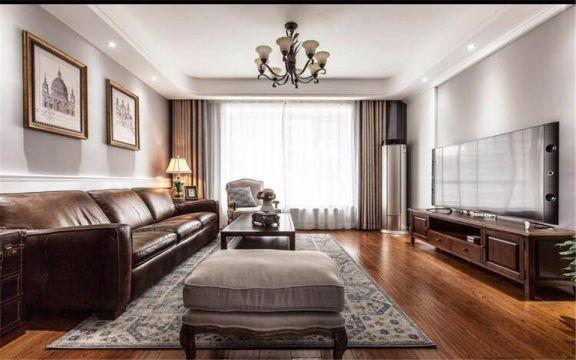 洲际亚洲湾110平美式风格三居装修效果图