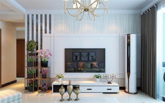 起居室背景墙现代简约风格装饰效果图