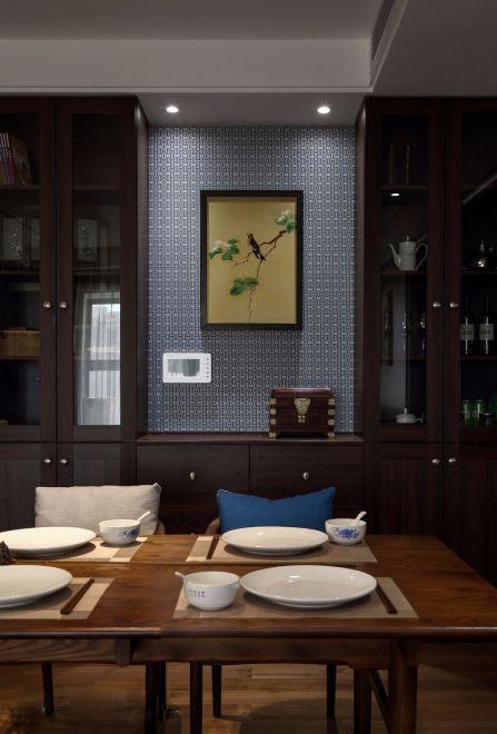 餐厅背景墙新中式风格装潢效果图
