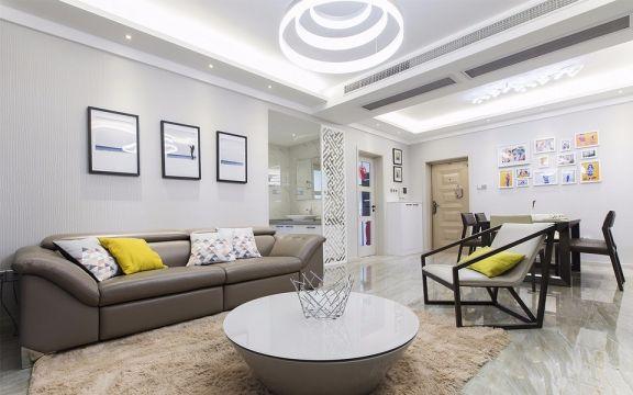中铁青秀城124平米现代简约风格三居室装修效果图