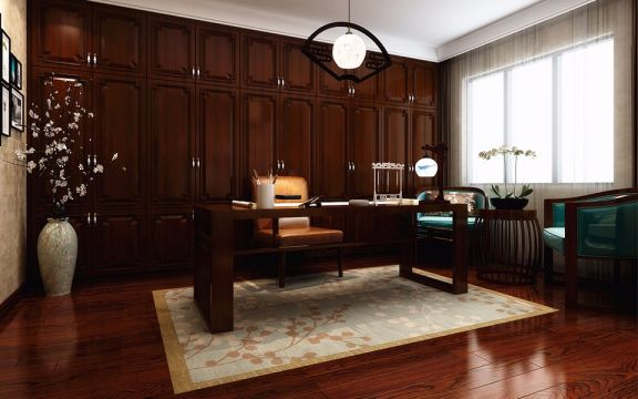 书房书桌新中式风格效果图