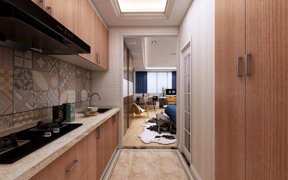 厨房咖啡色橱柜北欧风格装修设计图片