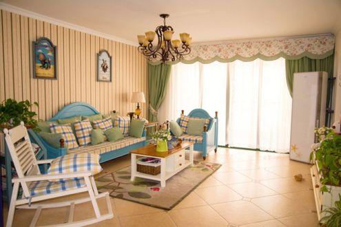 地中海风格79平米两室两厅新房装修效果图