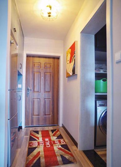 玄关咖啡色地板砖北欧风格装饰图片