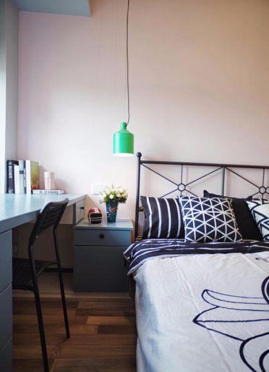 卧室咖啡色地板砖北欧风格效果图