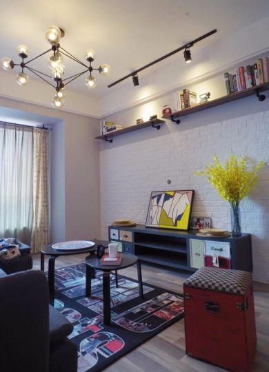 客厅黑色电视柜北欧风格装饰图片