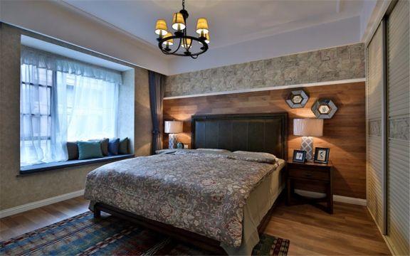 美式风格127平米三室两厅新房装修效果图