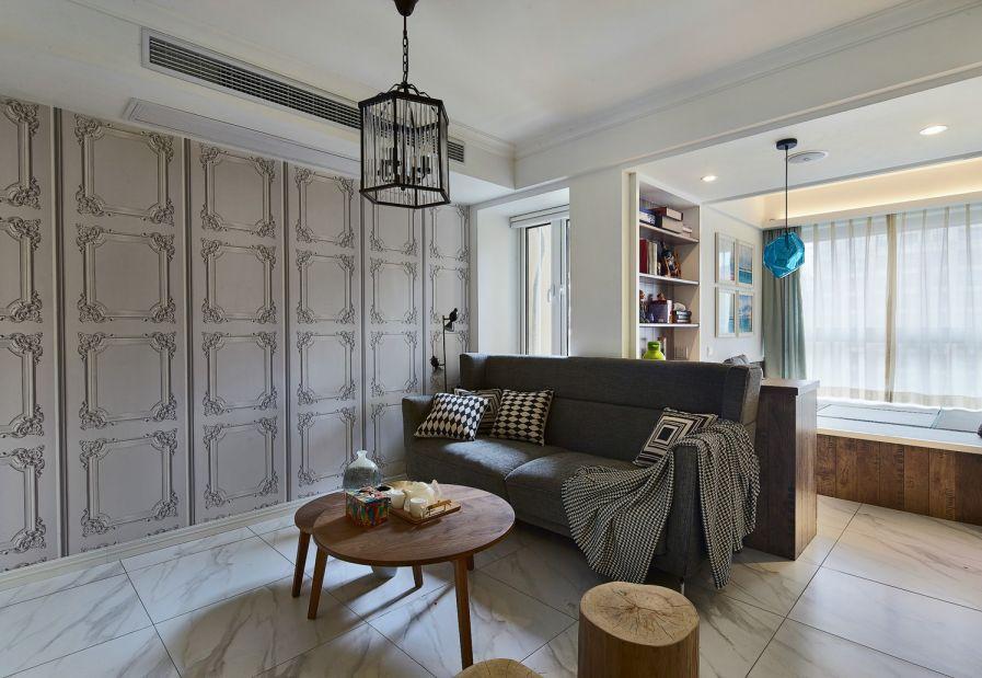 混搭风格89平米三室两厅新房装修效果图