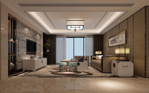 新中式风格180平米四室两厅新房装修效果图
