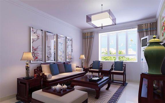 新中式风格122平米三室两厅新房装修效果图