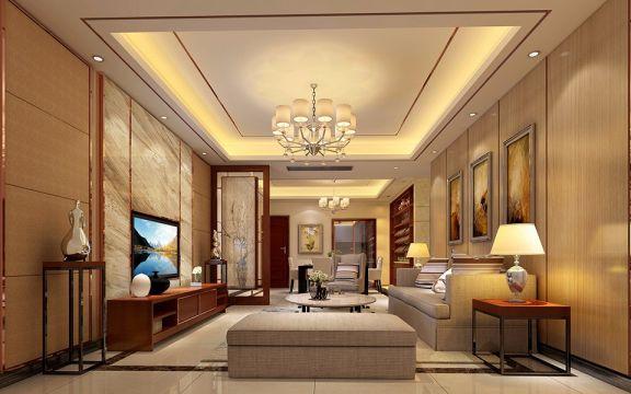 东湖九区105平现代港式三居室装修效果图