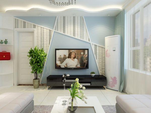 阳光100现代简约二居室90平装修效果图