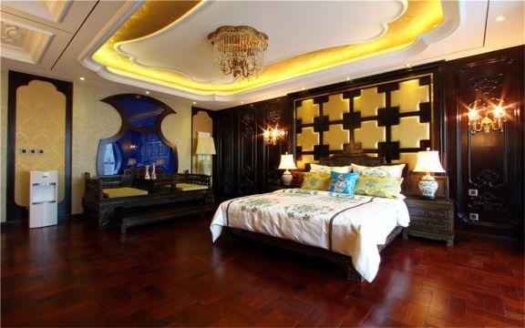 卧室背景墙东南亚风格装饰效果图