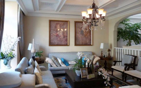 客厅背景墙美式风格效果图