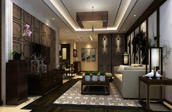 现代中式风格80平米两室两厅新房装修效果图