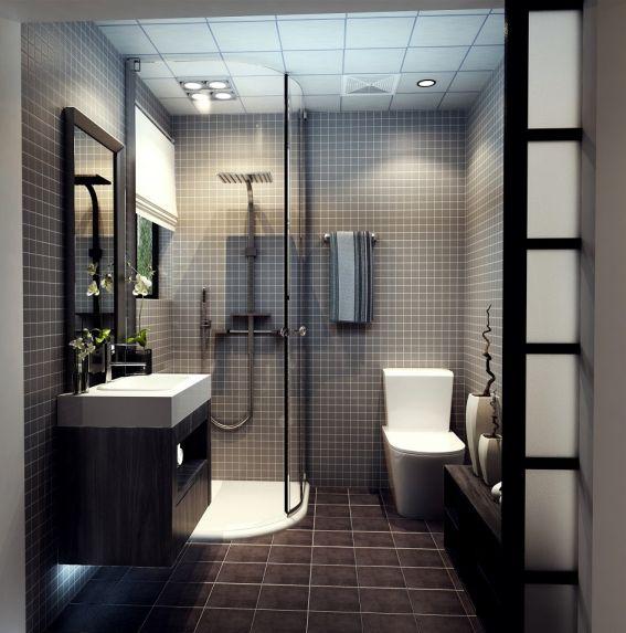 卫生间黑色洗漱台现代简约风格装修设计图片