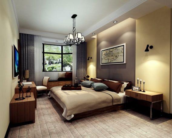 卧室咖啡色床头柜现代简约风格装饰设计图片