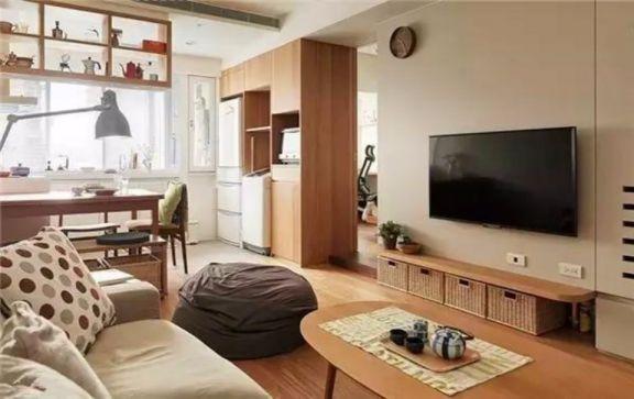 客厅咖啡色电视柜日式风格装潢设计图片