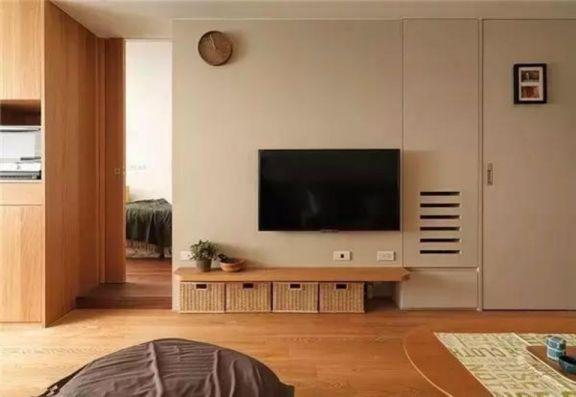 客厅咖啡色电视柜日式风格效果图