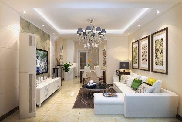 客厅白色细节现代简约风格效果图