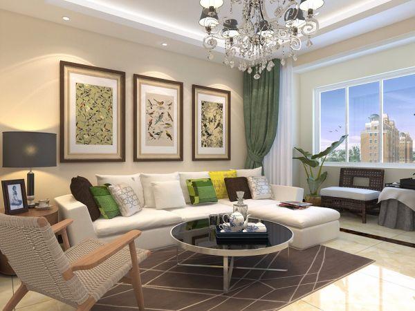 客厅白色照片墙现代简约风格装修效果图