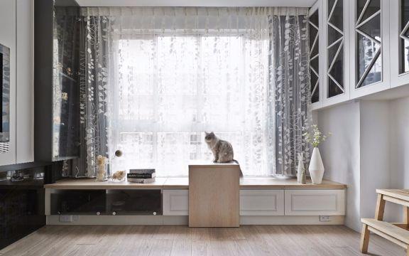 客厅白色飘窗简约风格装修图片