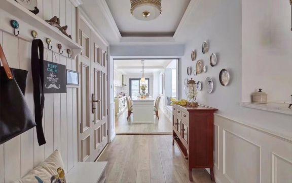 玄关咖啡色地板砖美式风格装饰设计图片